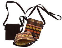 Asiakkaan toiveiden perusteella tehty osittain kierrätysmateriaaleista valmistettu laukku, etupuolella upea retro-omppu -kangas, takaosa tummanruskea sekä sisältä upeaa kelta-valkoista -pallokangasta.  http://www.cosecha.fi/page/14/mittatilaustyot