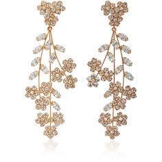 Jennifer Behr Rose Gold Swarovski Crystal Earrings ($925) ❤ liked on Polyvore featuring jewelry, earrings, pink, pink earrings, red gold jewelry, pink gold jewelry, floral jewelry and swarovski crystals earrings