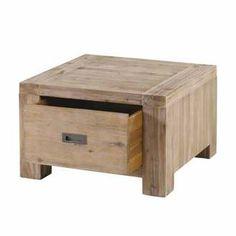 Bout de canapé carré en acacia L65cm avec tiroir NEVADA Zago port offert