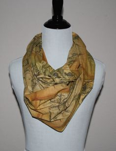 The Hobbit, LOTR, Lord of the Rings Infinity Scarf featuring the Map of Middle Earth,  Circle Scarf
