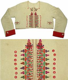 Antique Czech Folk Costume Embroidered Jacket Kroj Wool Moravian Ethnic Coat Old | eBay