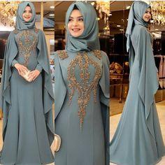 This makes a nice mother of groom outfit Long Dress Fashion, Abaya Fashion, Modest Fashion, Fashion Dresses, Fashion Fashion, Fashion Women, Abaya Mode, Mode Hijab, Muslim Wedding Dresses