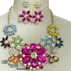 HIGH END MULTI COLOR CRYSTAL CHUNKY NECKLACE JEWELRY SET FORMAL PROM FORMAL #Unbranded