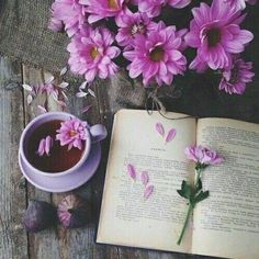Pink flowers and tea and books = joy.