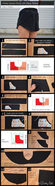 Instruction Layout - wrap shorts Cortes y Costura moda fashin sew costura roupas patrones free pattern moldes gratis