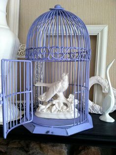 Lavender Bird Cage, Whimsical Hanging, Table Top. Via Etsy.