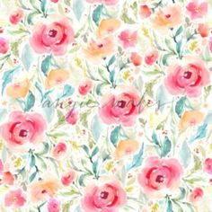 Colorful Red Watercolor Flower Pattern - Angie Makes Stock Shop