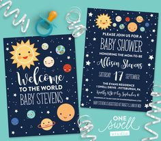 Outer Space Invitation Moon Invitation Moon Baby by oneswellstudio