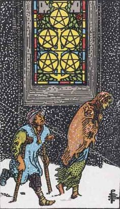 The Five of Coins suggests a grim and hard situation, a quagmire which the subjects won't soon be out of. You may be ambivalent, trapped in indecision, and feeling left out or shut off, but determined. The church windows imply charities and hopes, difficult to satisfy, but still worth fighting for. The right figure pictured isn't obviously friend or foe to the man on crutches, suggesting an uncertain relation. Obviously someone is in need of help, and you will be either drawn or repelled by…