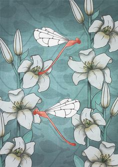lilies and dragonflies hand drawn printable floral wall art