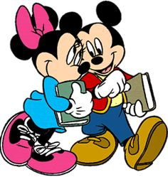 Cute Disney Cartoon Character back to school clipart: Disney's Mickey and Minnie Mouse snuggle and smile as they carry their books back for the first day of school; Click this hilarious Disney back to school clipart for larger.