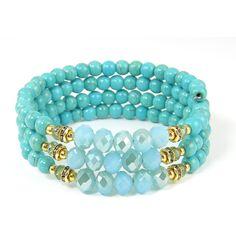 Turquoise Wrap Bracelet Aqua Gold Beaded Bangle on Memory Wire ($24) ❤ liked on Polyvore featuring jewelry, bracelets, beaded wrap bracelet, hinged bracelet, wrap bracelet, turquoise jewelry and turquoise bangle