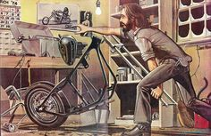 David Mann illustrations, USA, Former car painter David Mann - started making 'biker culture' paintings after he went to C. Motorcycle Posters, Motorcycle Art, Bike Art, Harley Davidson Wallpaper, Harley Davidson Art, Futuristic Helmet, David Mann Art, Easy Rider, Cycling Art
