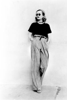 1930s Informal Style; High waisted trousers and rounded shades