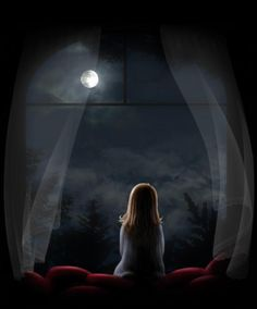 *Moon watching through the window