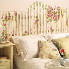 Garden Delight - picket fence with roses as a bedhead!
