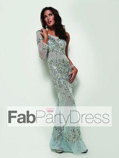 2013 Style Trumpet / Mermaid One Shoulder Beading Long Sleeves Floor-length Tulle Prom Dress