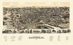 Perspective map of the city of Roanoke, Virginia. 1891 Year: 1891 City: Roanoke County: City Of Roanoke State: Virginia Country: United States