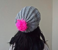 Slouchy hat with pom pom Crochet pattern by Accessorise