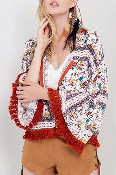 Floral Print Fringed Zip-Up Jacket: Jackets & Coats | ZAFUL