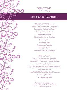 Wedding Program Templates Free | WeddingClipart.com