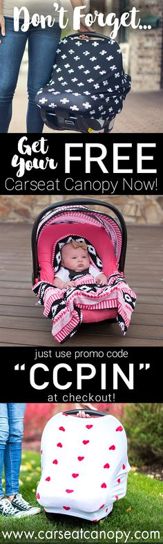 """PINNER'S SPECIAL! Enjoy 1 FREE Carseat Canopy or $50 OFF site-wide with promo code """"CCPIN"""" at www.carseatcanopy.com! Just pay shopping! Make motherhoods functional yet fashionable with Mother's Lounge."""
