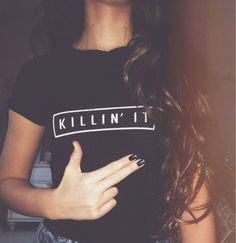 Women Black White Killin T-shirt It American T shirt European Style Woman Tee Fashion Tops Street Hippie Punk Womens Tshirt