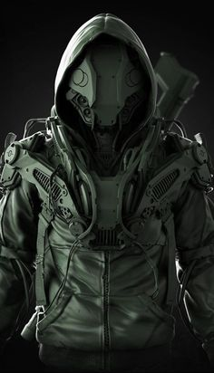 cyberpunk duds / urban wasteland / techie / all black / men's fashion / dark future Science Fiction, Science Art, Armor Concept, Concept Art, Otaku, Arte Cyberpunk, Arte Robot, Futuristic Armour, Futuristic Helmet