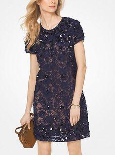 Floral Applique Lace Shift Dress
