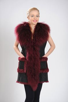 Burgundy long vest of Mongolia and Rabbit fur. Available for wholesale orders.