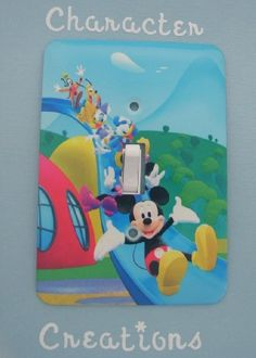 "Mickey Mouse Clubhouse Standard Metal Light switch Cover (Switch plate Switchplate) by Character Creations. $12.00. Mickey Mouse Clubhouse Design; High Quality Steel Switchplate with Beautiful Satin Finish; NOT a Sticker.  Image is heat sealed into the switchplate, therefore is completely washable.; Standard Size Lightswitch Cover (3 1/2"" x 5""); Beautifully finishes off any room. This is a fantastic addition to any bedroom, recroom or office and is made from High Quality Steel w..."