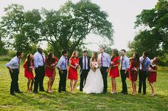 red bridesmaid dresses | photo by Amber Vickery Photography