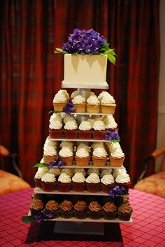 6 Tier Square Custom Made Cupcake Stand - Holds up to 148 Cupcakes. Square Wedding Cakes, Wedding Cake Stands, Wedding Cakes With Cupcakes, Cupcake Wedding, Cupcake Tier, Cupcake Cookies, Purple Black Wedding, Square Cupcakes, Cupcake Display