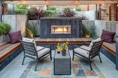 A new outdoors design collection of 15 Sensational Contemporary Patio Designs For Your Enjoyment with great ideas for your backyard. Fire Pit Backyard, Backyard Patio, Backyard Landscaping, Cozy Patio, Backyard Ideas, Garden Ideas, Outdoor Gas Fireplace, Outdoor Fireplace Designs, Outdoor Tiles