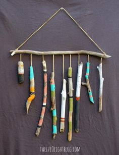 DIY Nursery Decor Ideas for Boys - Drift Wood Wall Hanging - Cute Blue Room Decorations for Baby Boy- Crib Bedding, Changing Table, Organization Idea, Furniture and Easy Wall Art art diy art easy art ideas art painted art projects Painted Driftwood, Driftwood Art, Driftwood Mobile, Driftwood Projects, Driftwood Ideas, Painted Sticks, Beach Crafts, Nature Crafts, Mobiles