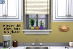 The Sims 4 | Orangemittens' Window Sill Plant Pots & 3 Resized Base Game EA Plants | buy mode deco new objects slotted planters