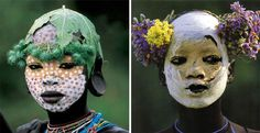 Mursi and Surma girls from Natural Fashion: Tribal Decoration from Africa By Hans Silvester