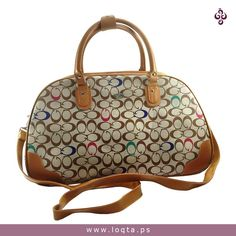 2d3790b24281e حقيبة يد نسائية كبيرة الحجم بلون بني وبيج وبنقوش بنية وملونة