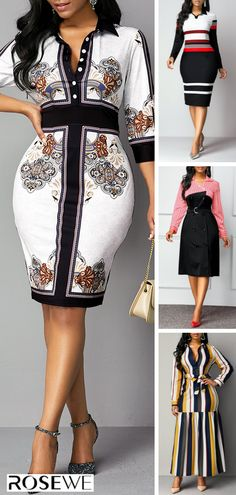 Hottest & Rosewe Women's Fashion Fall Dresses Fall Dresses, Pretty Dresses, Beautiful Dresses, Short Dresses, African Attire, African Dress, Look Fashion, Autumn Fashion, Style Africain