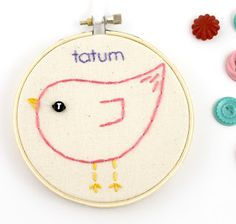 Lova Revolutionary : Blog: Custom Baby Bird Embroidery Hoop Art with Name & Initial
