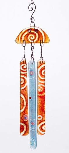 Susann Prince, Orange Spiral Top Chime with Red and Blue, $38