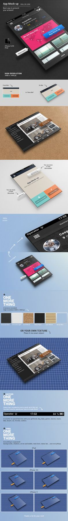 Buy App Mock-up by Synthetique on GraphicRiver. App Mock-ups If you want to present your design layout in a beautiful and aesthetic form, this mock-up will be very h. Mobile App Templates, Mobile Mockup, Business Flyer Templates, Mockup Templates, App Design, Layout Design, Flat Design, Ui Portfolio, Display Mockup