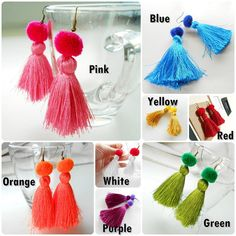 Pretty Fluff Cotton Tassel Silky Earrings with Pom Poms Handmade Diy Tassel, Tassels, Green And Purple, Pink Yellow, Diy Jewelry Projects, Color Azul, Tassel Earrings, Diy Fashion, Handmade Jewelry