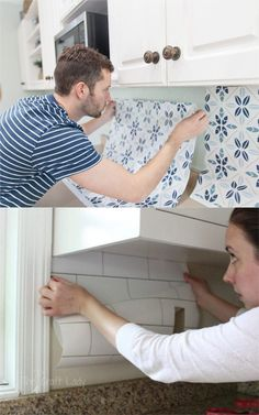"""Ingenious! Easy DIY peel and stick kitchen """"tile"""" backsplash! 15 Best kitchen remodel ideas & before and afters: how to paint kitchen cabinets, add open shelving, select backsplash, hardware, lighting, kitchen decorations, and styles from farmhouse to modern! - A Piece of Rainbow #kitchen #kitchenideas #kitchendecorideas #kitchenremodel #beforeandafter #remodel #remodelingideas #kitchencabinet #organize #declutter #decluttermyhouse #diy #furniture #farmhouse #farmhousedecor #diyhomedecor"""