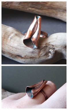 """""""Fall"""" ring by Alice Savage. One of a kind, forged copper ring, nature inspired, organical design. Boho, bohemian, hippie, festival"""