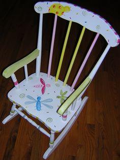 Kids Painted Rocking Chair by GrowinLikeAWeed on Etsy, $159.00