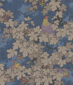Pretty: Vine Blue wallpaper by Little Greene