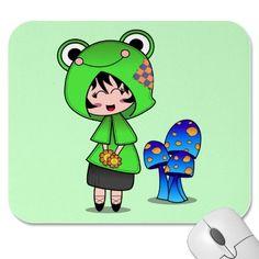 Kawaii Frog Girl Mouse Pad