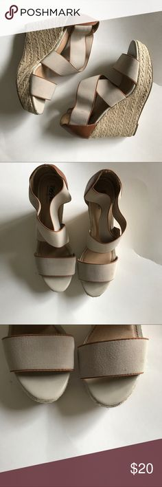 Tan Wedges size 8 I love love love these wedges. Perfect neutral to go with anything. The straps are electric and they even fit my swollen 9 month preggo feet! Mossimo Supply Co Shoes Wedges