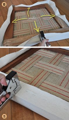 How to re-upholster drop-in seats.  Which is exactly what we need to get round to with our dining chairs... How To Upholster, Reupholster Dining Chair, Upholstered Dining Chairs, Chair Repair, Furniture Repair, Diy Furniture Chair, Upholstered Furniture, Furniture Projects, Refurbished Furniture